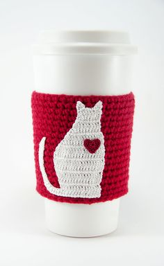 Coffee cozy cup sleeve I love my cat cat coffee by TableTopJewels