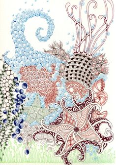 Zentangle art by Shelly Beauch Tangle Doodle, Tangle Art, Zen Doodle, Doodle Art, Zentangle Drawings, Doodles Zentangles, Zentangle Patterns, Doodle Drawings, Doodle Inspiration