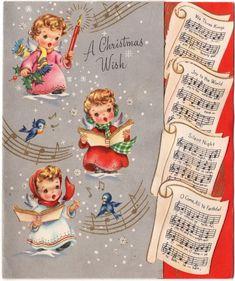 Sheet Music Tiny Angel Girl Lady Gold Dress Pink Red VTG Christmas Greeting Card