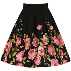 50s Black Floral Print Knee Length Retro Skirt (44 BAM) ❤ liked on Polyvore featuring skirts