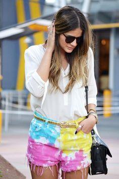rainbow tie dye shorts