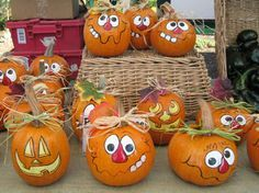 At the Market: Halloween Carnival and Thank You! Best Paint For Pumpkins, Pumpkin Face Paint, Creative Pumpkins, Pumpkin Art, Pumpkin Crafts, Fall Crafts, Pumpkin Carving, Holiday Crafts, Pumpkin Painting