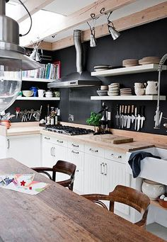 white cabinets and wood countertop