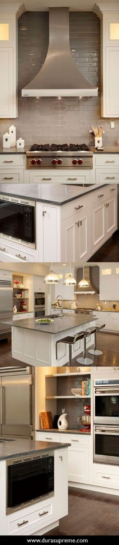 Family Style Kitchen – A remodel story about a beautiful clean transitional kitchen remodel for a large Italian family. he Cabinet Center in San Ramon, CA featuring white painted kitchen cabinets from Dura Supreme Cabinetry.
