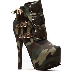 CiCiHot Camo Gold Plated Core Platform Booties ($48) ❤ liked on Polyvore featuring shoes, boots, ankle booties, camo booties, platform boots, back zip boots, camouflage boots and camo boots