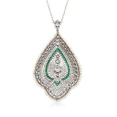 """Ross-Simons - C. 1920 Vintage 1.75 ct. t.w. Diamond and 1.00 ct. t.w. Emerald Art Deco Pendant Necklace With Cultured Pearls in Platinum. 18"""" - #825188"""