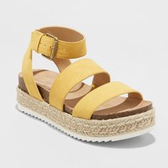 Women's Agnes Wide Width Espadrille Sandals - Universal Thread Yellow 7.5W