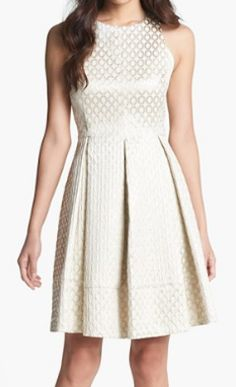 Beautiful gold jacquard fit and flare dress http://rstyle.me/n/ky9q5nyg6