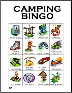 Print our camping themed BINGO game with 12 unique cards featuring words and pictures of camping gear. This is a great rainy day Girl Scout camp activity for any level or a pre-camp progression activity as Juniors begin to earn their Camping Badge. Camping Bingo, Camping Parties, Camping Party Games, Camping With Kids, Go Camping, Camping Indoors, Camping Songs For Kids, Preschool Camping Activities, Rain Camping