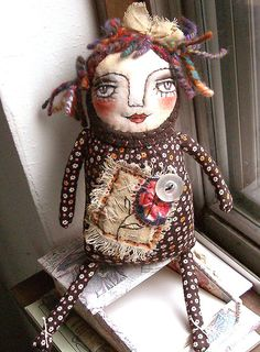 Original Art doll  Florina  Folk Art Primitive by miliaart on Etsy