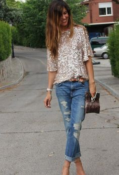 sequins + boy friend jeans holiday parties, boyfriend jeans, fashion, sequin, street style, outfit, dress up, date nights, shirt
