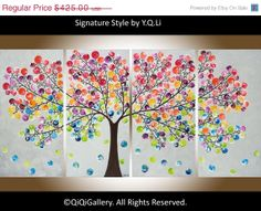 Multicolored Abstract Painting heavy Textured por QiQiGallery