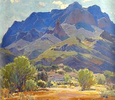 Hanson Puthuff (1875 - 1972). Enduring Ramparts (Superstition Mountains). Oil on Canvas 26 x 30.