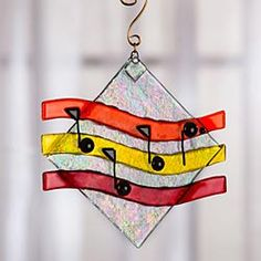 Fused Glass Musical Notes Sun Catcher Fix the notes