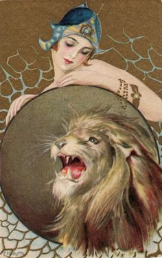 Lady and lion by Carlo Chiostri, 1920s