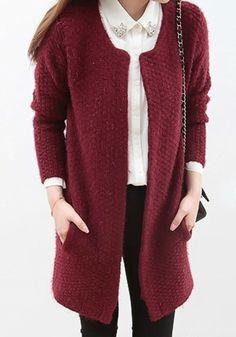 Purplish Red Plain Round Neck Wool Blend Cardigan