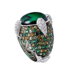 ESCORIAL Ring in 18k White Gold with white diamonds, emeralds, peridot, citrine and a 21.30ct emerald center stone from the Letizia collection