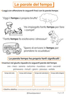 Le Parole del Tempo: Schede Didattiche per la Scuola Primaria | PianetaBambini.it Italian Lessons, Learning Italian, New Years Eve Party, Problem Solving, Pixel Art, Middle School, Worksheets, Activities For Kids, Improve Yourself