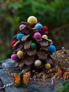 DIY Christmas Tree Kit handmade Christmas Decoration by Fairyfolk Pine Cone Christmas Tree, Unique Christmas Trees, Handmade Christmas Tree, Christmas Ornaments To Make, Noel Christmas, Christmas Tree Decorations, Craft Decorations, Pinecone Ornaments, Reindeer Ornaments