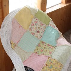 These are the exact materials of our baby bedding! :) love it! Need 2! Vintage Baby Rag Quilt / Childs Rag Quilt. $65.00, via Etsy.