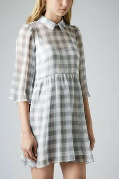 Crinkle Gingham Smock Dress