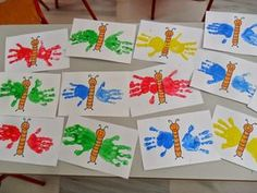 basteln mit meinen i-kindern Kinder Basteln Handabdruck Raupe Nimmersatt How A Pendulum Works to Kee Kids Crafts, Daycare Crafts, Summer Crafts, Toddler Crafts, Spring Activities, Infant Activities, Preschool Activities, Preschool Kindergarten, Indoor Activities
