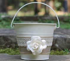 Flower Girl Basket Pail Linen and Lace, Rustic Shabby Chic Wedding on Etsy, $37.50