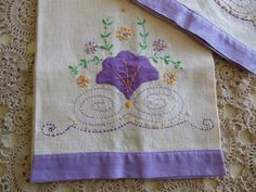 Vintage Tea Towels Pair Linen Lavender and by loonlakevintage