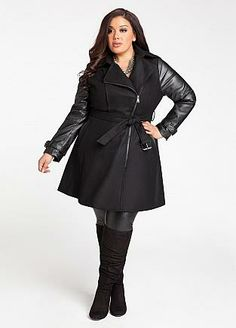 side zip black trench coat from Ashley Stewart