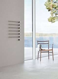Let the VOLA towel warmer create drama and impact in your new design space Bathroom Taps, Bathroom Fixtures, Towel Warmer, Heated Towel Rail, Outdoor Chairs, Outdoor Decor, Bathroom Interior Design, Beautiful Bathrooms, Scandinavian Design