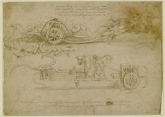 Leonardo Da Vinci, University of assault chariots armed with scythes, 1482 - 1485 ac, pen and brown ink acquerelato, metal point on paper; 21 x 29.2 cm. Turin Biblioteca Reale (Royal Library)