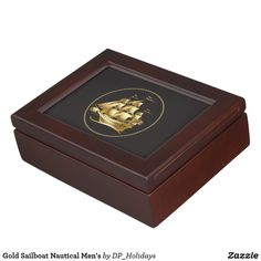 Gold Sailboat Nautical Men's Memory Box - This stunning high quality gold sailboat keepsake box makes a wonderful gift choice for sailing or boating enthusiasts, Navy members, Father's Day, birthdays, and more. The inside of the box may be customized with photos or text as you desire. This thoughtful gift will be long appreciated and treasured. Sold at DP_Holidays on Zazzle.
