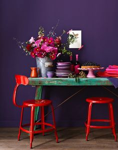 """Color Palettes to Make """"Shadow"""" (Benjamin Moore's Color of the Year) Work in Your Home"""