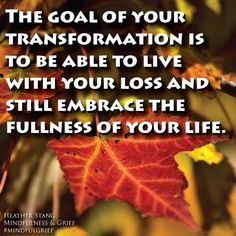 The goal of your transformation is to be able to live with your loss and still embrace the fullness of your life.   From Mindfulness & Grief by Heather Stang