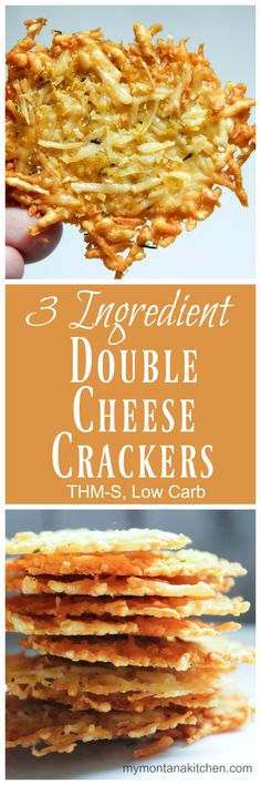 3 Ingredient Double Cheese Crackers (THM-S, Low Carb) 1.5 Cups Shredded Parmesan Cheese (not the green can kind, but the kind you buy in a bag or small plastic container) 1/4 Cup Nutritional Yeast 1/2 tsp thyme