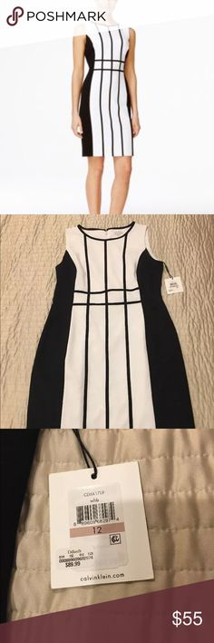 NWT Calvin Klein Black/white color block dress Brand new dress! Perfect for the office.  From a smoke free environment! Calvin Klein Dresses