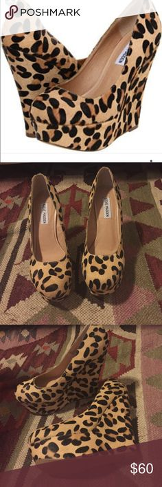 NWOT Steve Madden Cheetah Print Platform Wedges Real fur. Printed cow fur. Never worn! Steve Madden Shoes Wedges