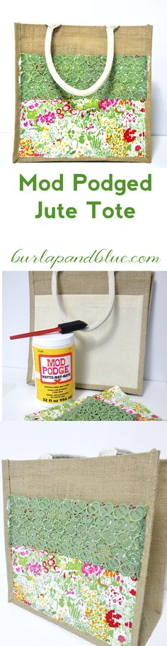 mod podged jute tote--an easy decoupage craft with fabric, lace and a craft store jute bag!