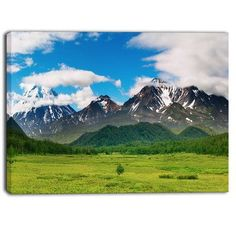 """DesignArt Snowy Volcanoes Landscape Photographic Print on Wrapped Canvas Size: 30"""" H x 40"""" W"""