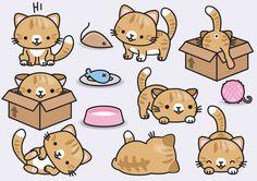 Premium vector clipart - kawaii ginger cats - cute ginger ca Cat Clipart, Cat Vector, Vector Clipart, Kawaii Drawings, Cartoon Drawings, Cute Ginger, Kawaii Doodles, Clip Art, Kawaii Cat