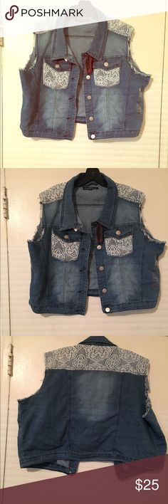 Jean distressed vest size 4X Jean distressed vest last pic shows factory distress as well. NWT size 4X Jackets & Coats Vests