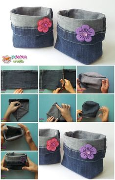 How-To-Make-Bags-From-Recycled-Jeans diy recycle jeans, deni Jean Crafts, Denim Crafts, Wood Crafts, Fabric Crafts, Sewing Crafts, Sewing Projects, Paper Crafts, Artisanats Denim, Denim Bags From Jeans