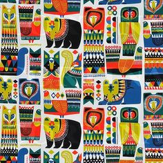 Sanna Annukka - Marimekko. This pattern is a lot more detailed as the animals are filled in with brightly coloured patterns. However, the animals are simple shaped which can be repeated easily, making this pattern less complex than it appears. I like the use of primary colours as they are bold and add to the tribal theme created by the animals and detailed pattern.