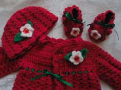 Newborn crocheted baby girl's sweater red by TillieLuvsTreasures