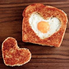 egg hearts in a basket for brekafast