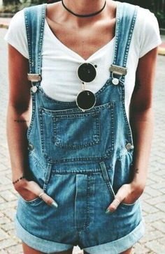 As the weather warms up, pair a basic tee with simple overalls and a choker. Let Daily Dress Me help you find the perfect outfit for whatever the weather! dailydressme.com/