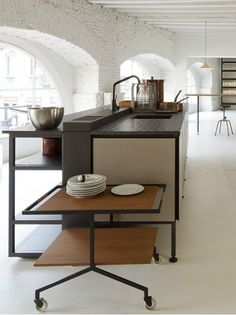 Kitchen of the week: Salinas, a modular design by Patricia Urquiola for Boffi, was inspired by the . Monochrome Interior, Interior Desing, Cafe Interior, Interior Design Kitchen, Kitchen Designs, Living Furniture, Kitchen Furniture, Kitchen Dining, Patricia Urquiola