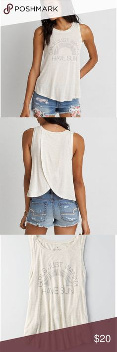 """NWT AE split back tank top NWT open back tank from American Eagle in size large! """"Girls just wanna have sun!"""" cream colored tank and SO soft and light American Eagle Outfitters Tops Tank Tops"""
