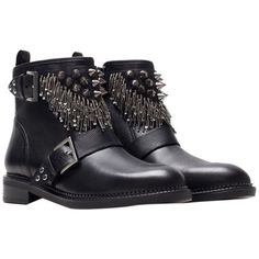 Pre-owned Zara Real Leather Biker Motorcycle Ankle Metal Spiked... ($140) ❤ liked on Polyvore featuring shoes, boots, ankle booties, black, black ankle booties, low heel booties, short boots, black ankle boots y leather boots