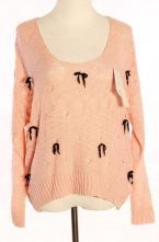 Pink Long Sleeve Hollow Bow Pearls Sweater $41.84